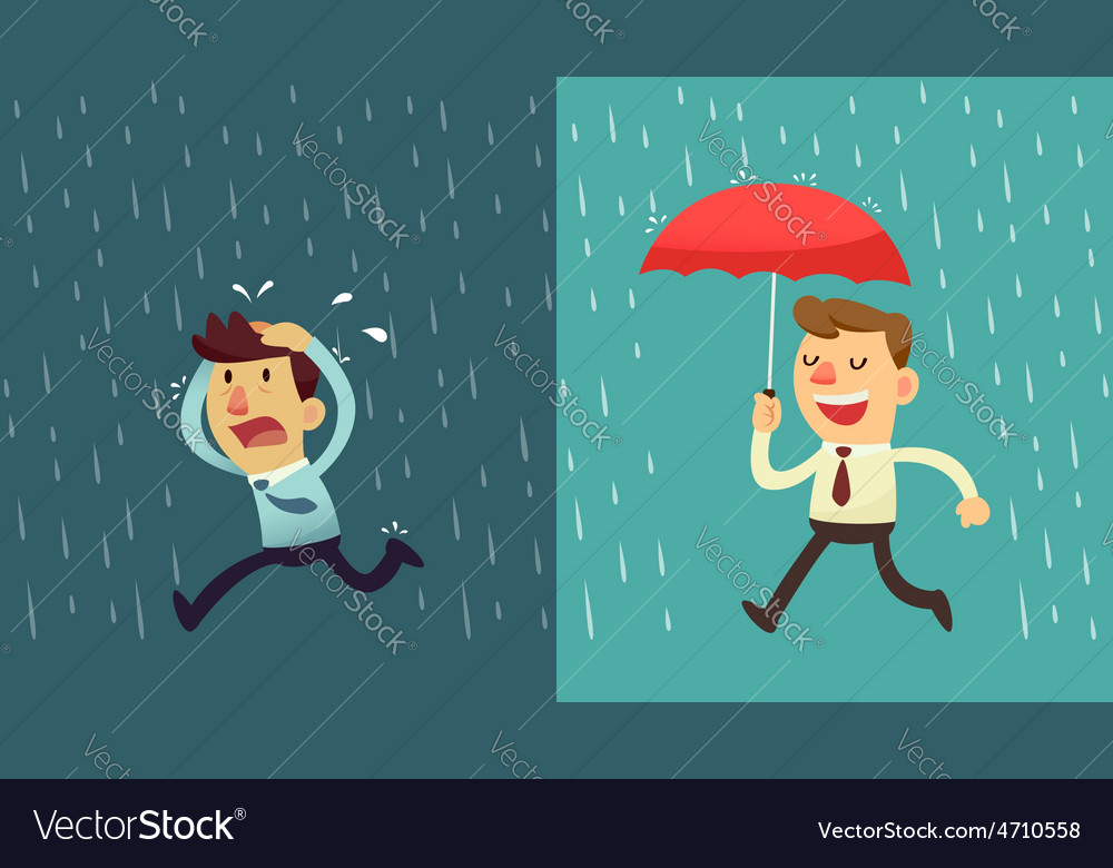 Business man in the rain preparation vector