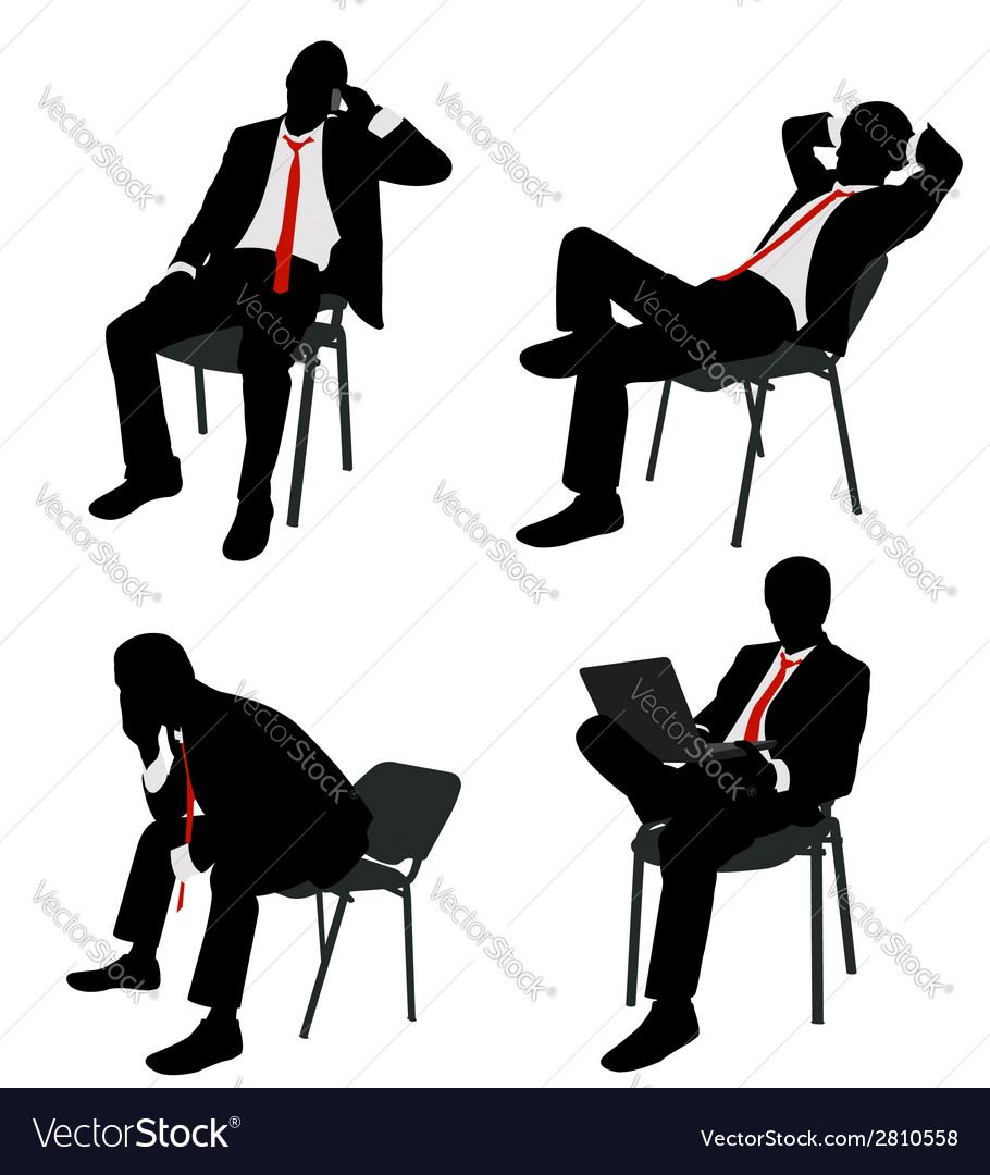 Bussinesman sitting vector | Price: 1 Credit (USD $1)