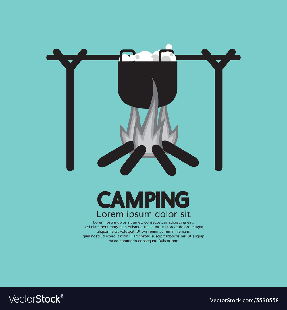 Cooking on campfire vector | Price: 1 Credit (USD $1)