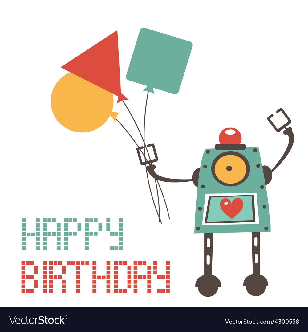 Cute birthday card with robot vector | Price: 1 Credit (USD $1)