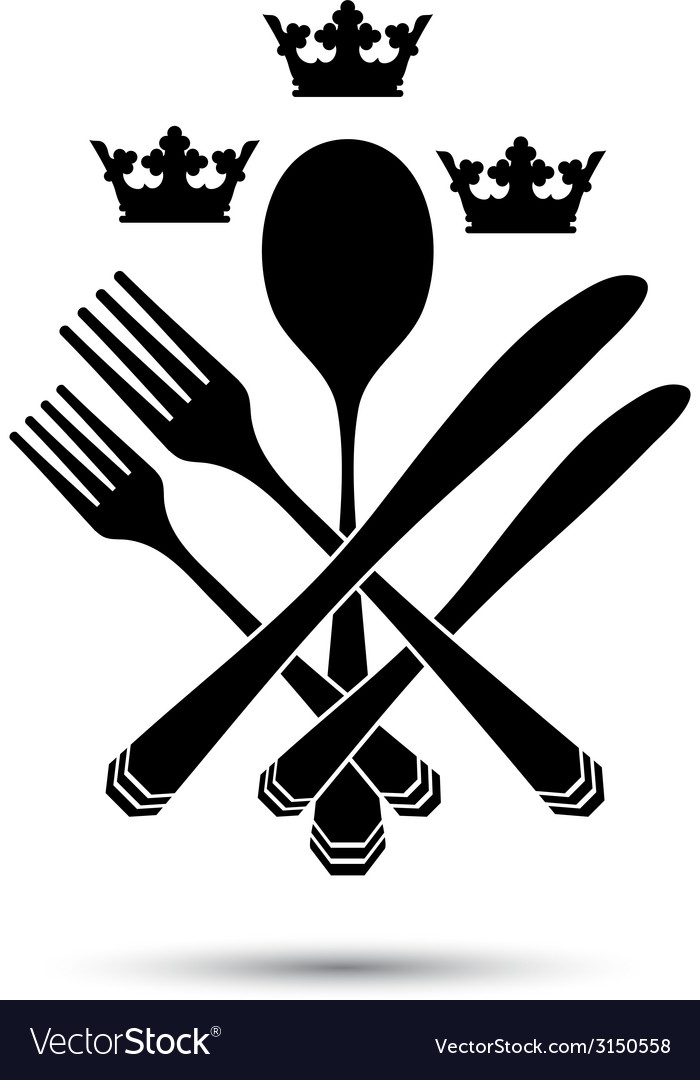 Cutlery with crowns vector | Price: 1 Credit (USD $1)