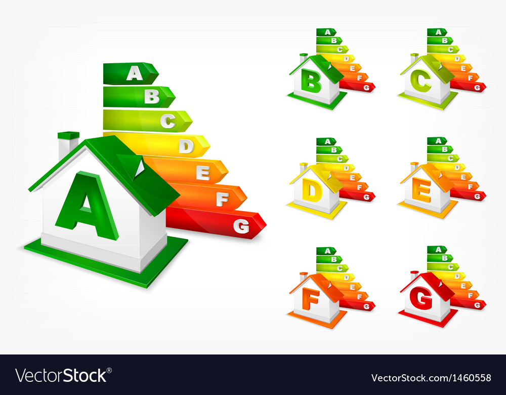 Different energy efficiency rating and house vector | Price: 1 Credit (USD $1)