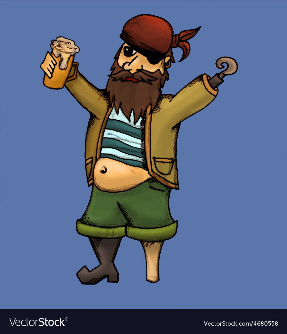 Drunk pirate vector | Price: 1 Credit (USD $1)