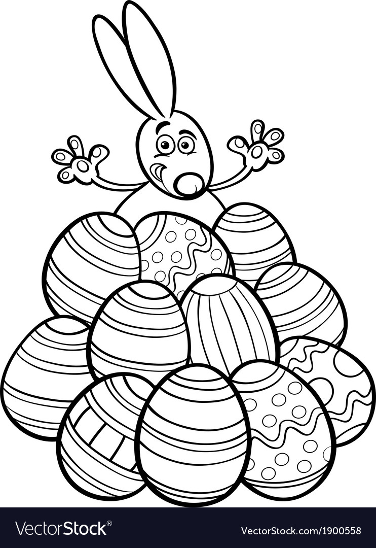 Easter bunny and eggs coloring page vector   Price: 1 Credit (USD $1)