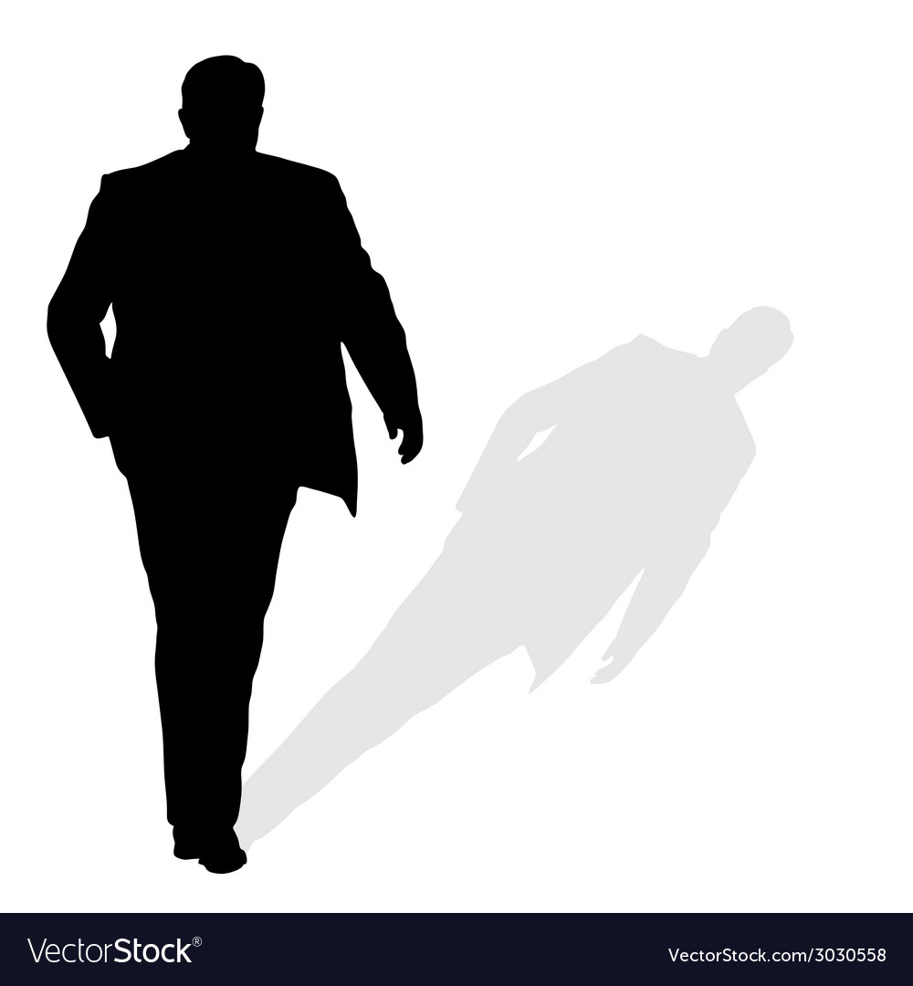 Man walking silhouette art with shadow vector | Price: 1 Credit (USD $1)