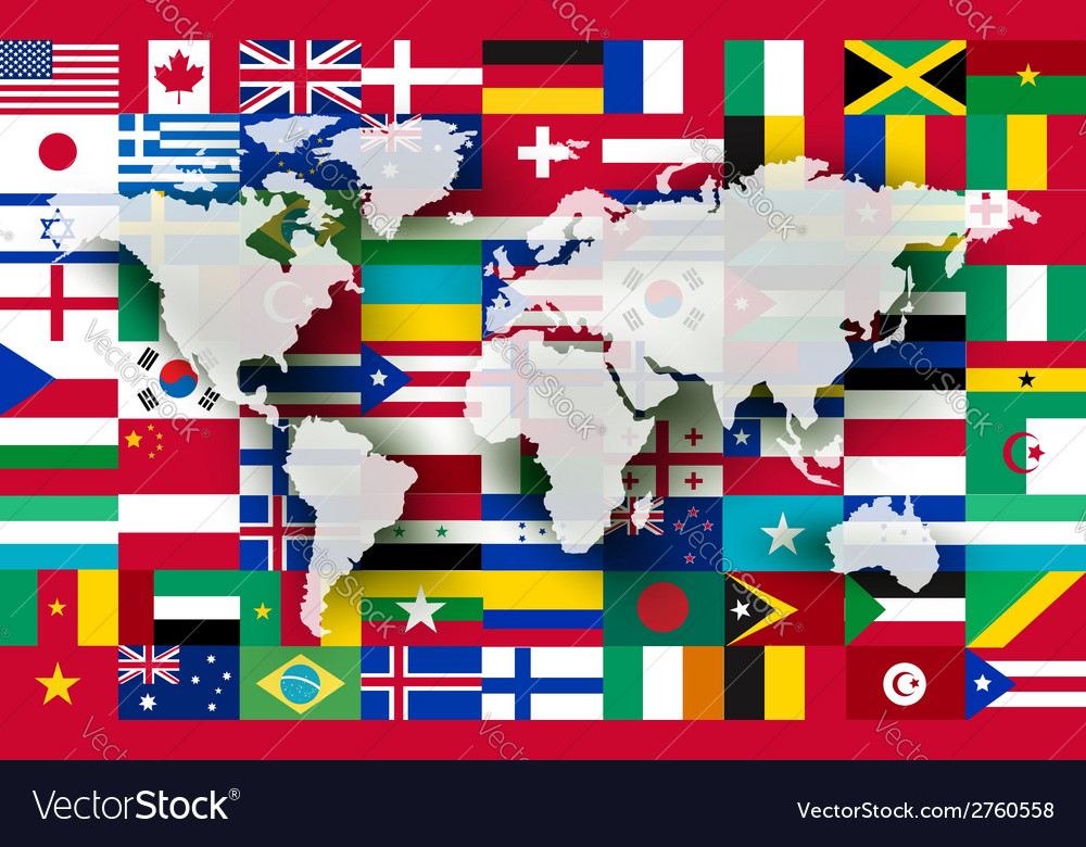 Map on a background of flags vector | Price: 1 Credit (USD $1)