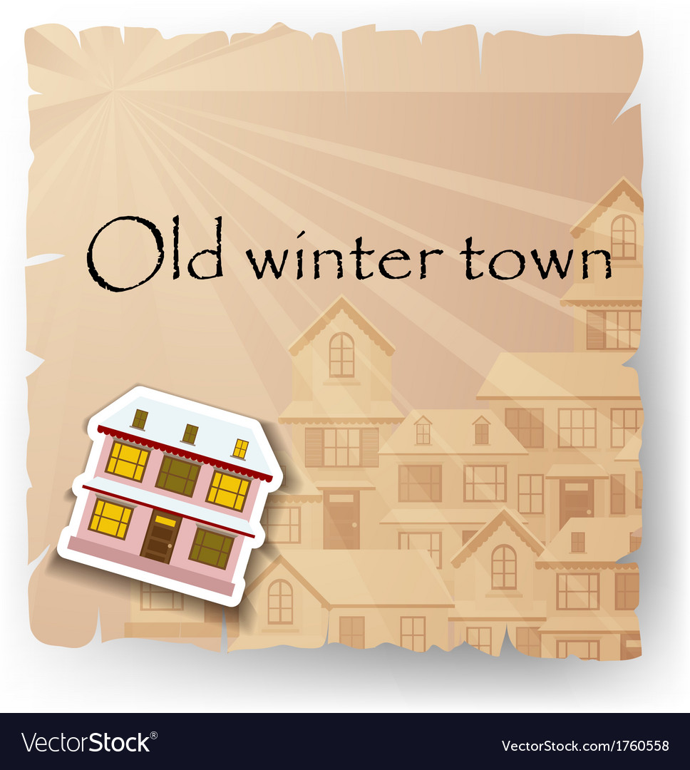 Old paper card with cartoon house vector | Price: 1 Credit (USD $1)