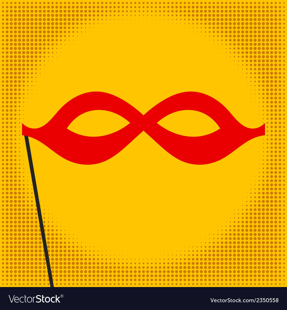 Red mask on yellow background pop art vector | Price: 1 Credit (USD $1)