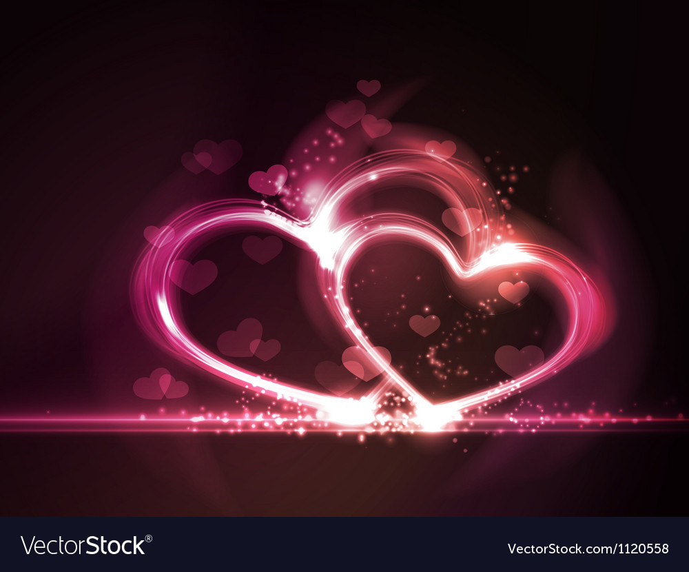 Red pink glowing hearts frame vector | Price: 1 Credit (USD $1)