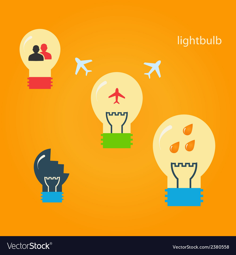 Set of creative light bulbs vector | Price: 1 Credit (USD $1)