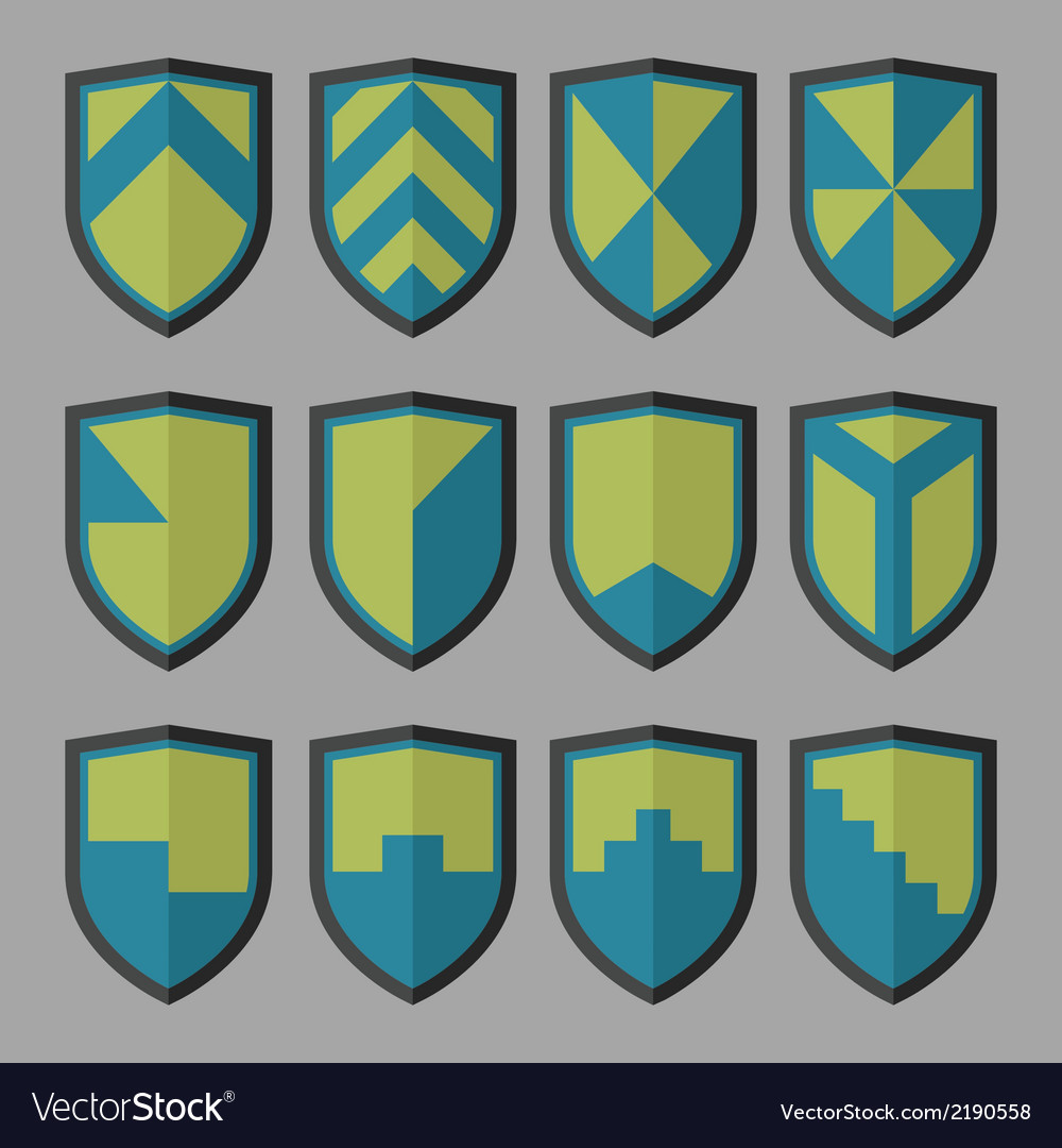 Set of shields blue and green vector | Price: 1 Credit (USD $1)