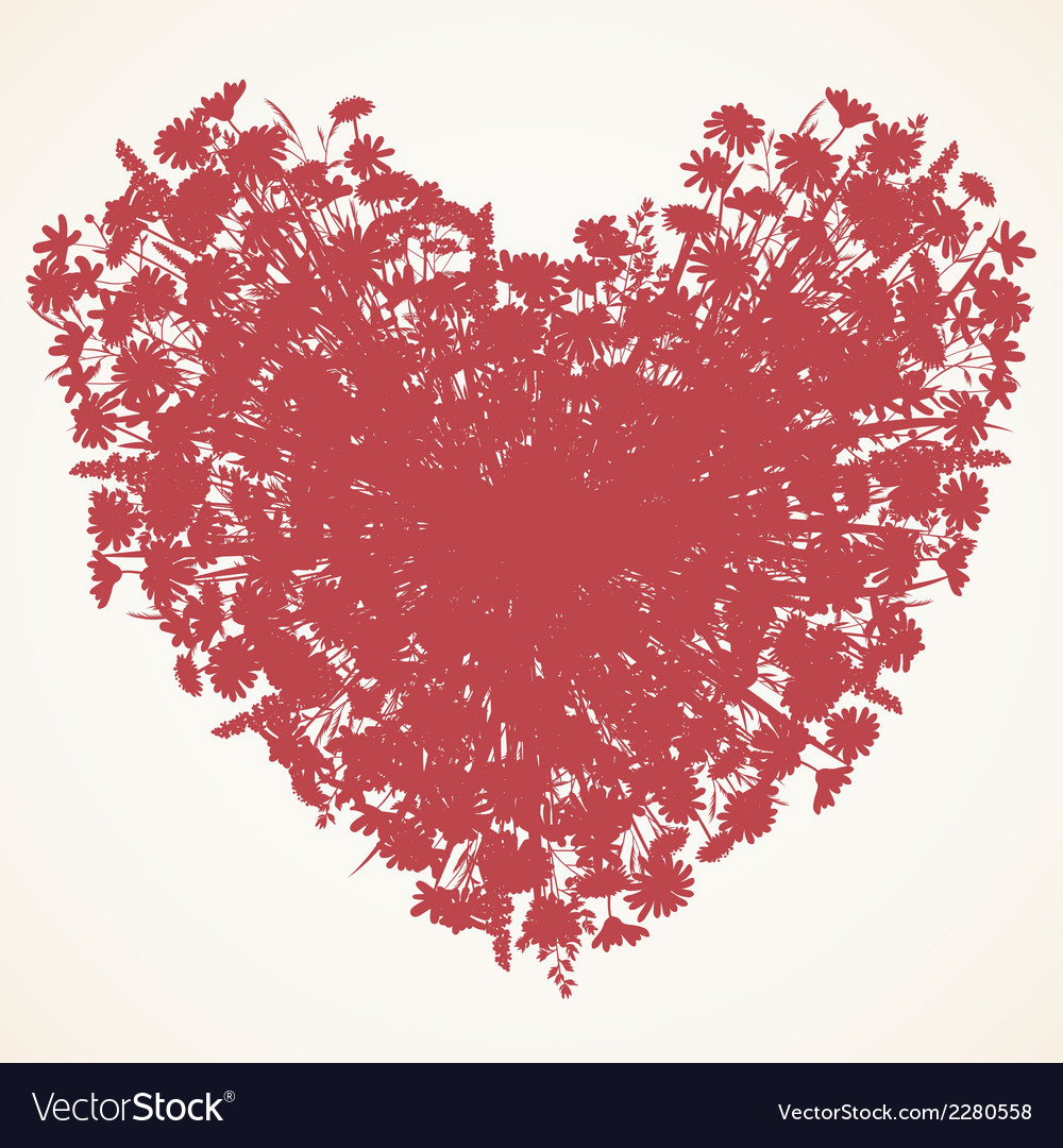 Wild flower heart silhouette vector | Price: 1 Credit (USD $1)