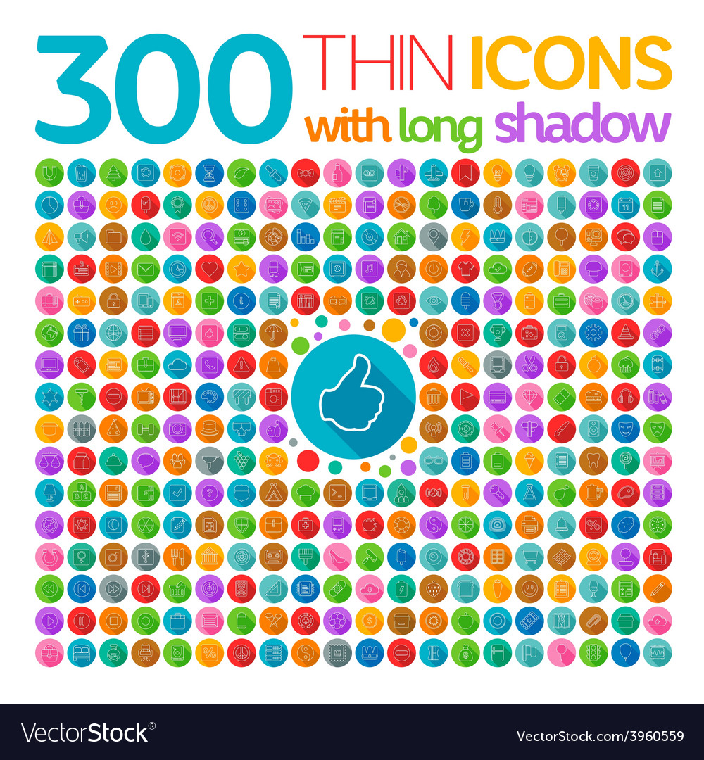 300 thin icons with long shadow vector | Price: 1 Credit (USD $1)