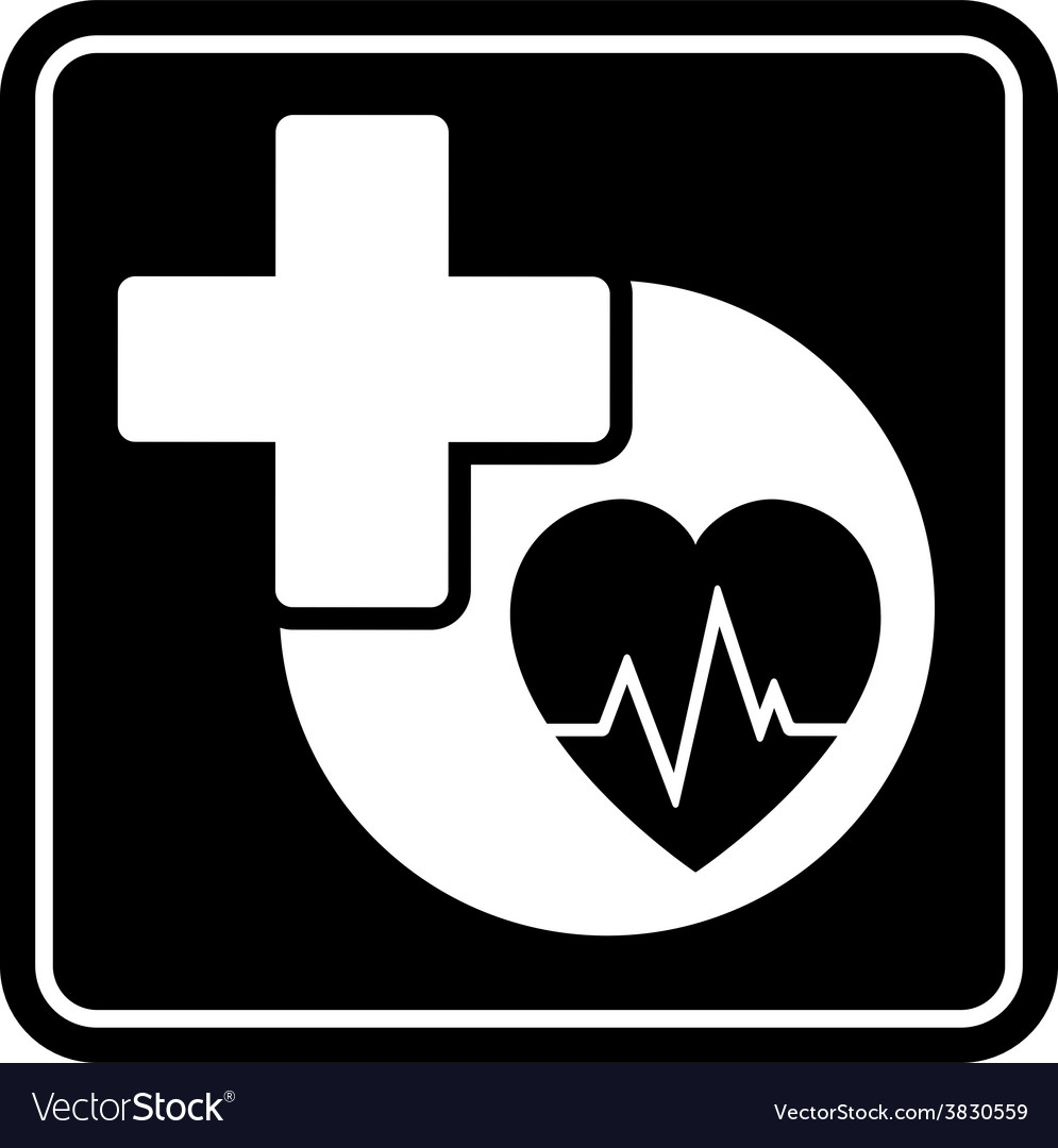Black health care icon with heart and medical vector | Price: 1 Credit (USD $1)