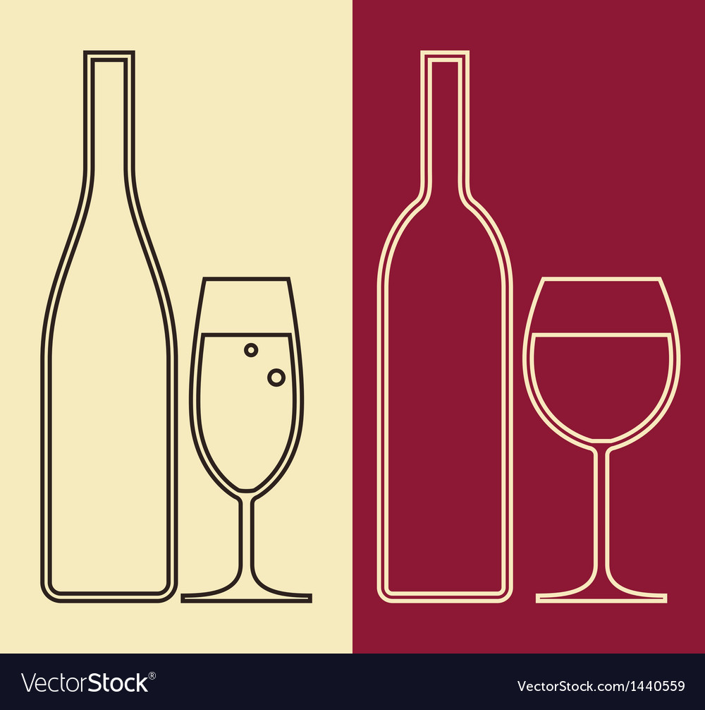 Bottles and glasses of wine and champagne vector | Price: 1 Credit (USD $1)
