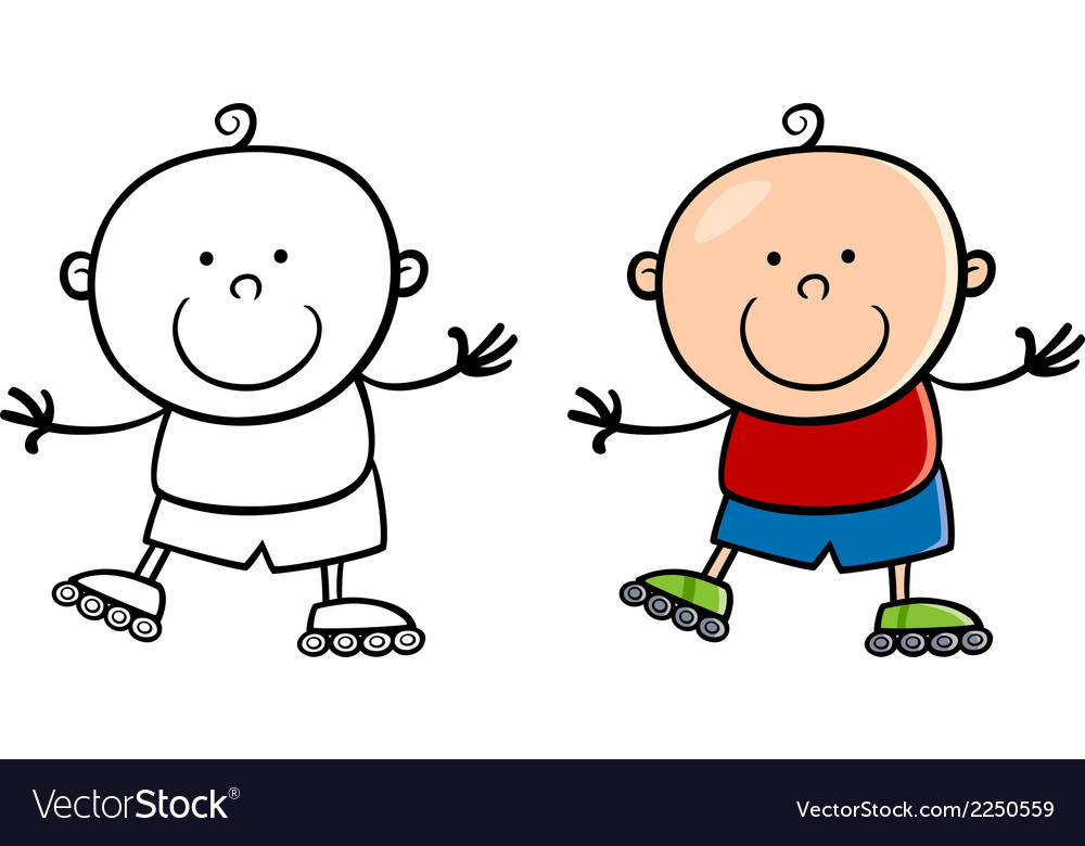 Boy on rollerblades cartoon vector   Price: 1 Credit (USD $1)