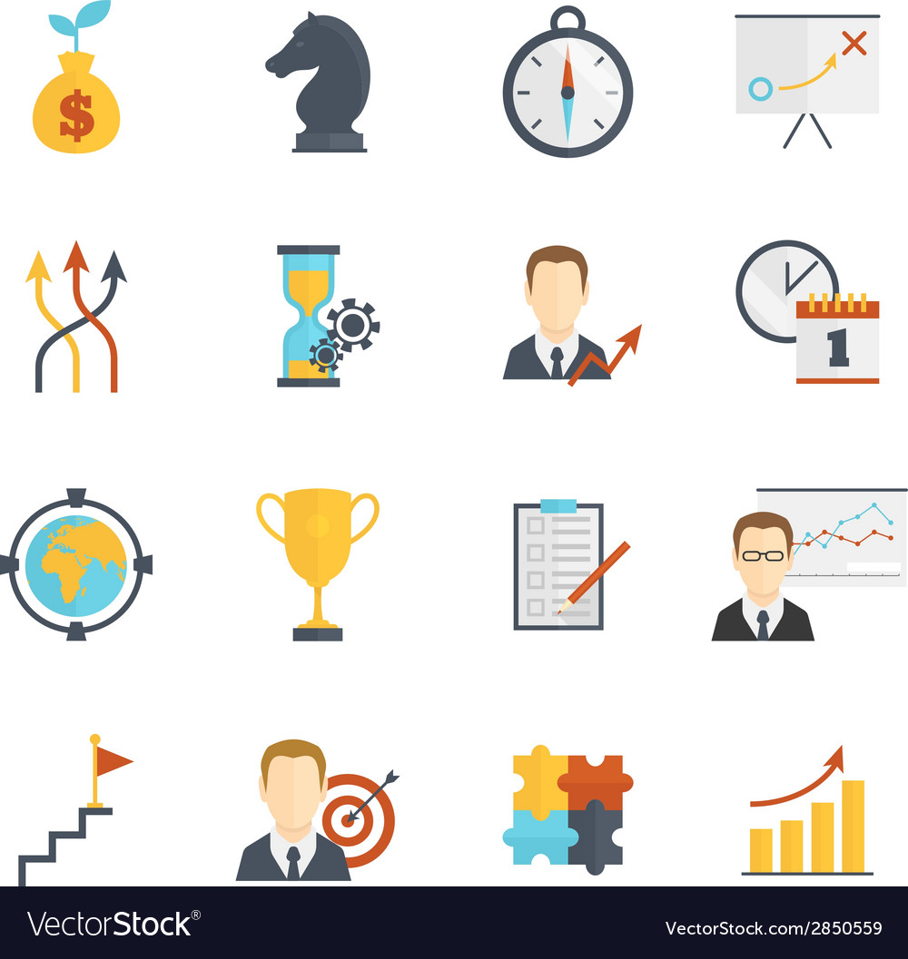 Business strategy planning icons vector | Price: 1 Credit (USD $1)