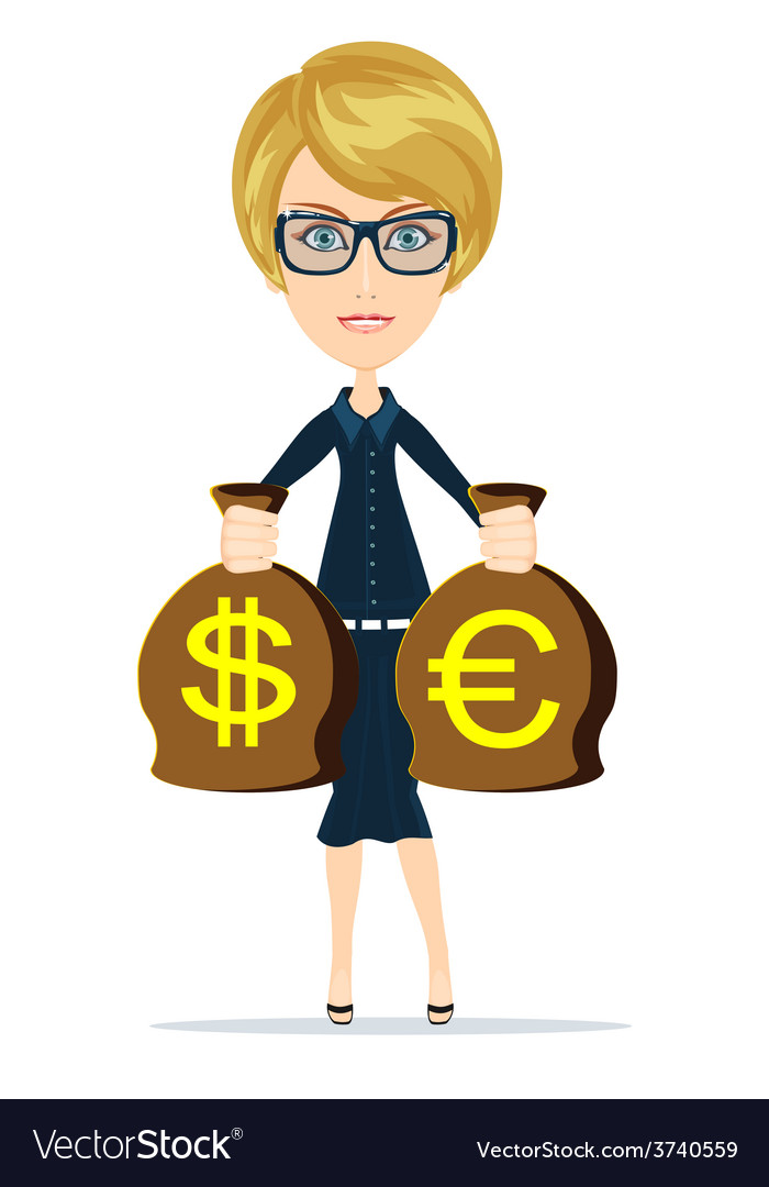 Business woman holding money vector | Price: 1 Credit (USD $1)