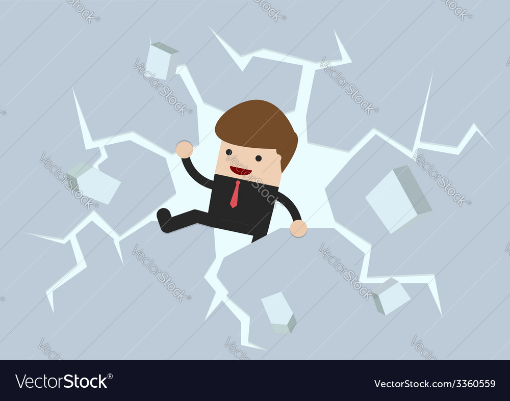 Businessman breaking the wall to freedom vector | Price: 1 Credit (USD $1)