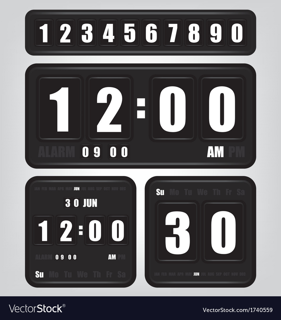 Digital retro clock and calendar vector | Price: 1 Credit (USD $1)