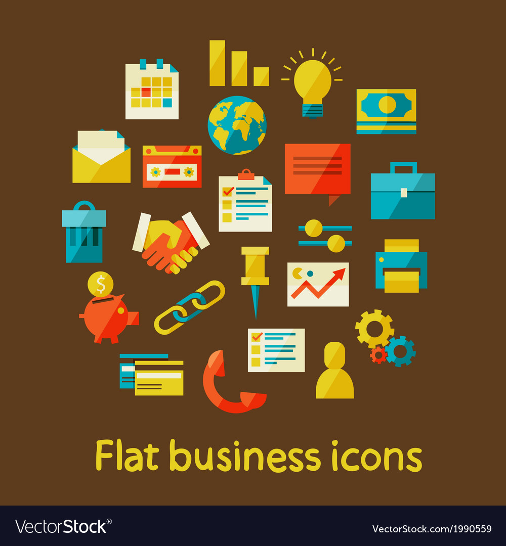Flat business icons vector | Price: 1 Credit (USD $1)