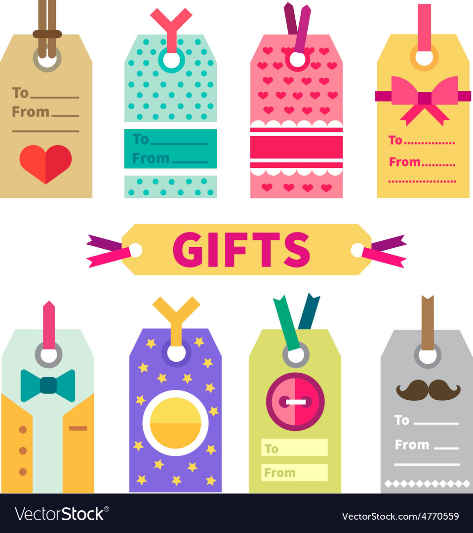 Gift set of labels and post card vector | Price: 3 Credit (USD $3)