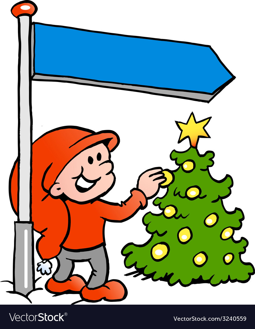 Hand-drawn of an happy christmas elf looking at a vector | Price: 1 Credit (USD $1)