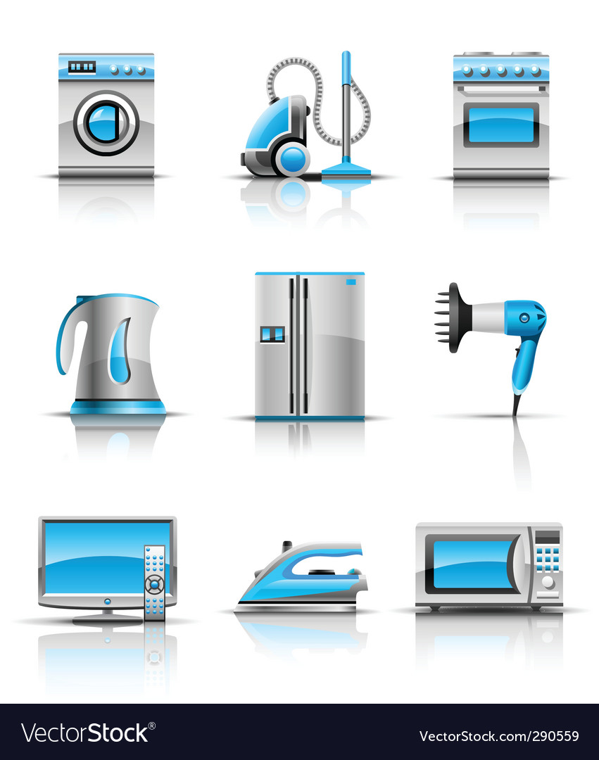 Set icon of household appliances vector | Price: 3 Credit (USD $3)