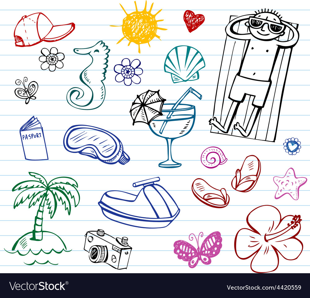 Summer doodle set vector | Price: 1 Credit (USD $1)