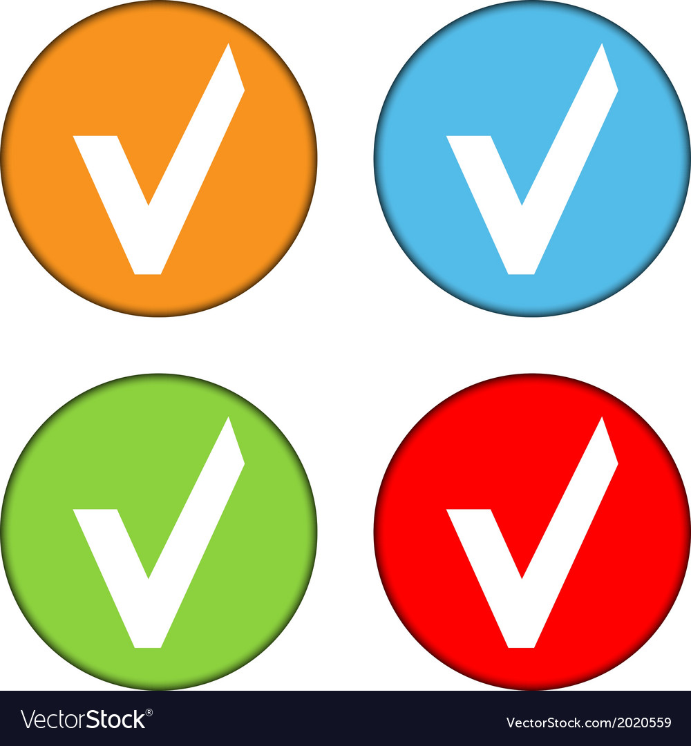 Yes sign button set vector | Price: 1 Credit (USD $1)