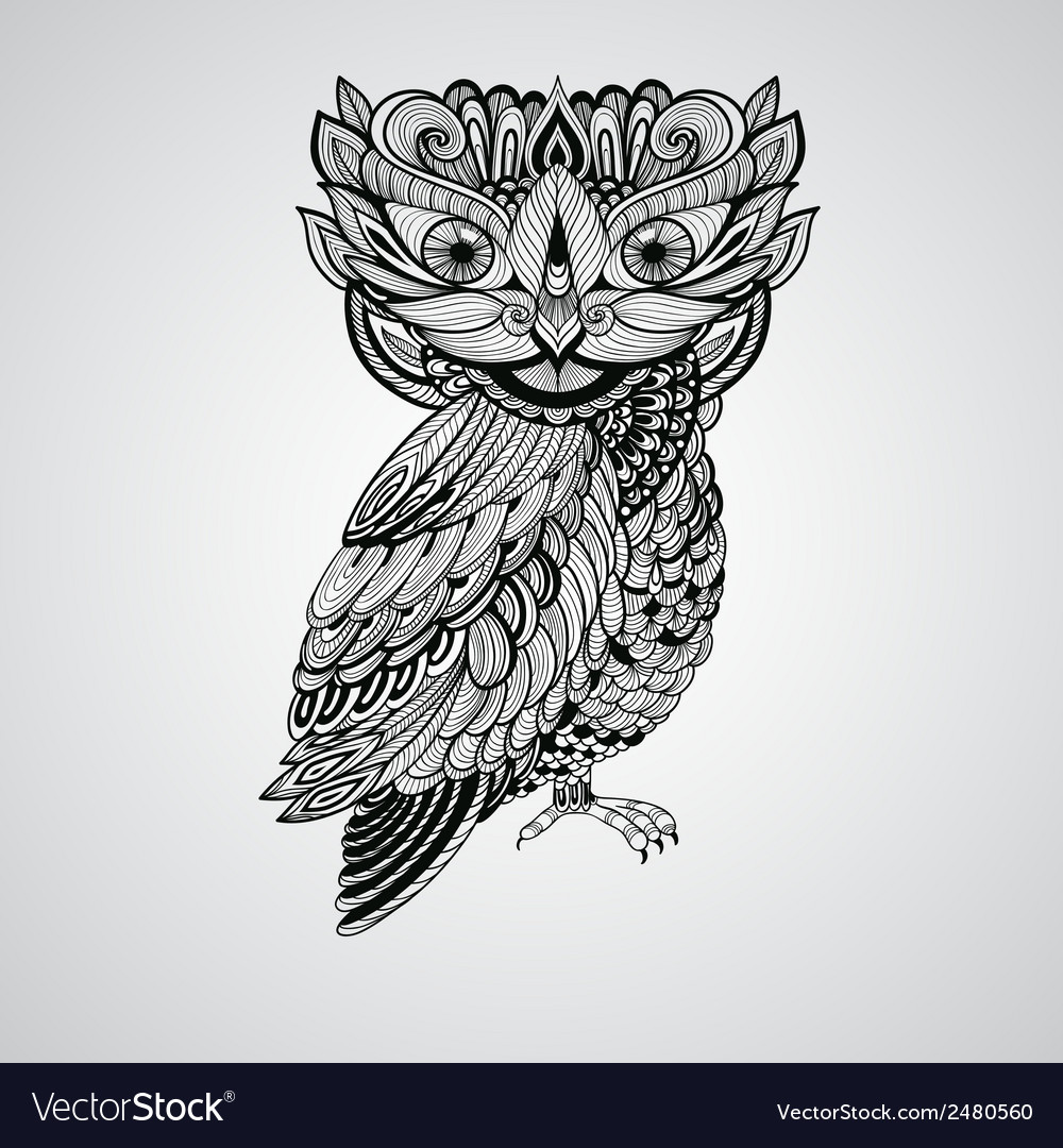 Black owl tattoo style vector | Price: 1 Credit (USD $1)