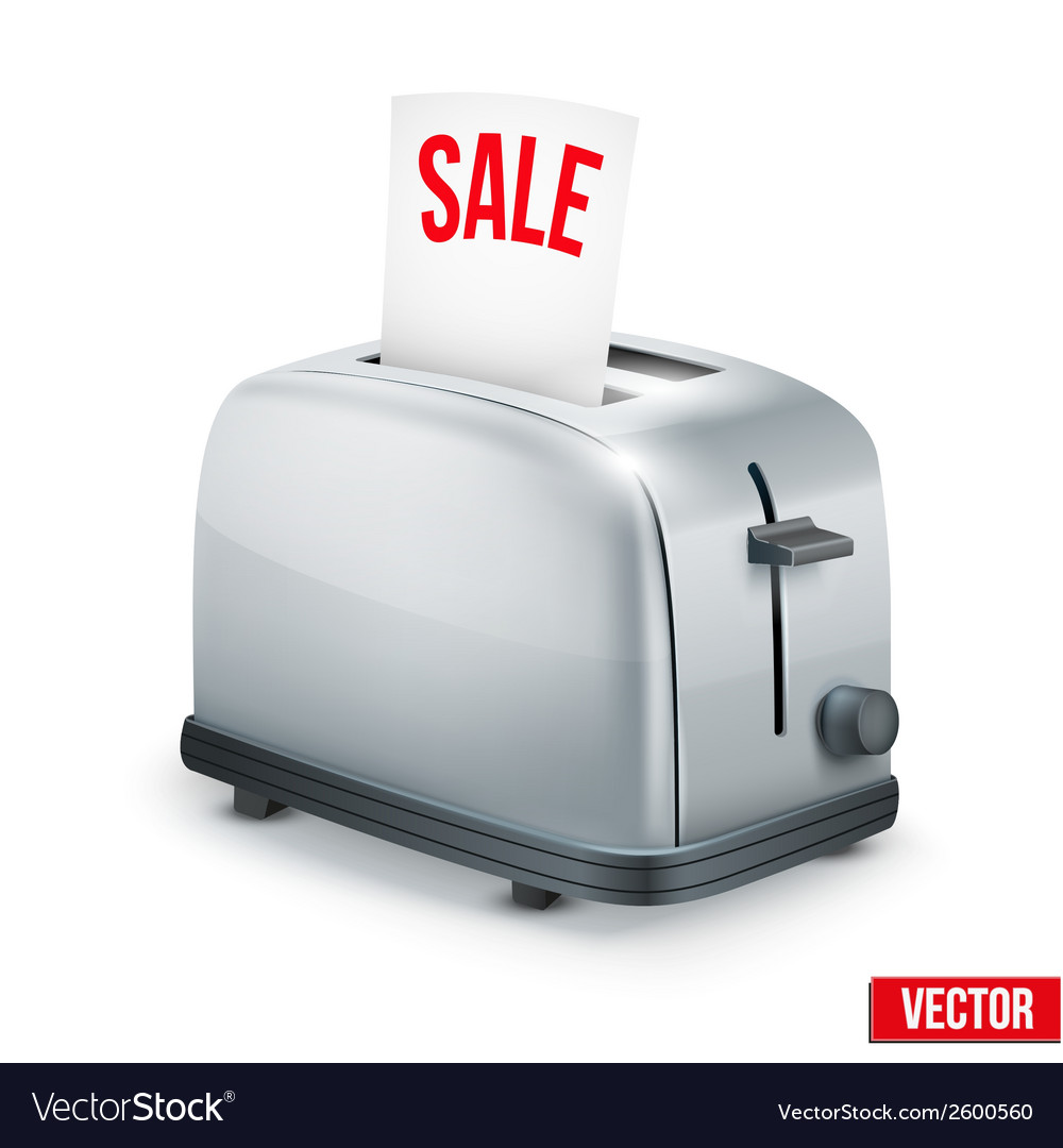 Bright metal toaster with message sale isolated on vector | Price: 1 Credit (USD $1)