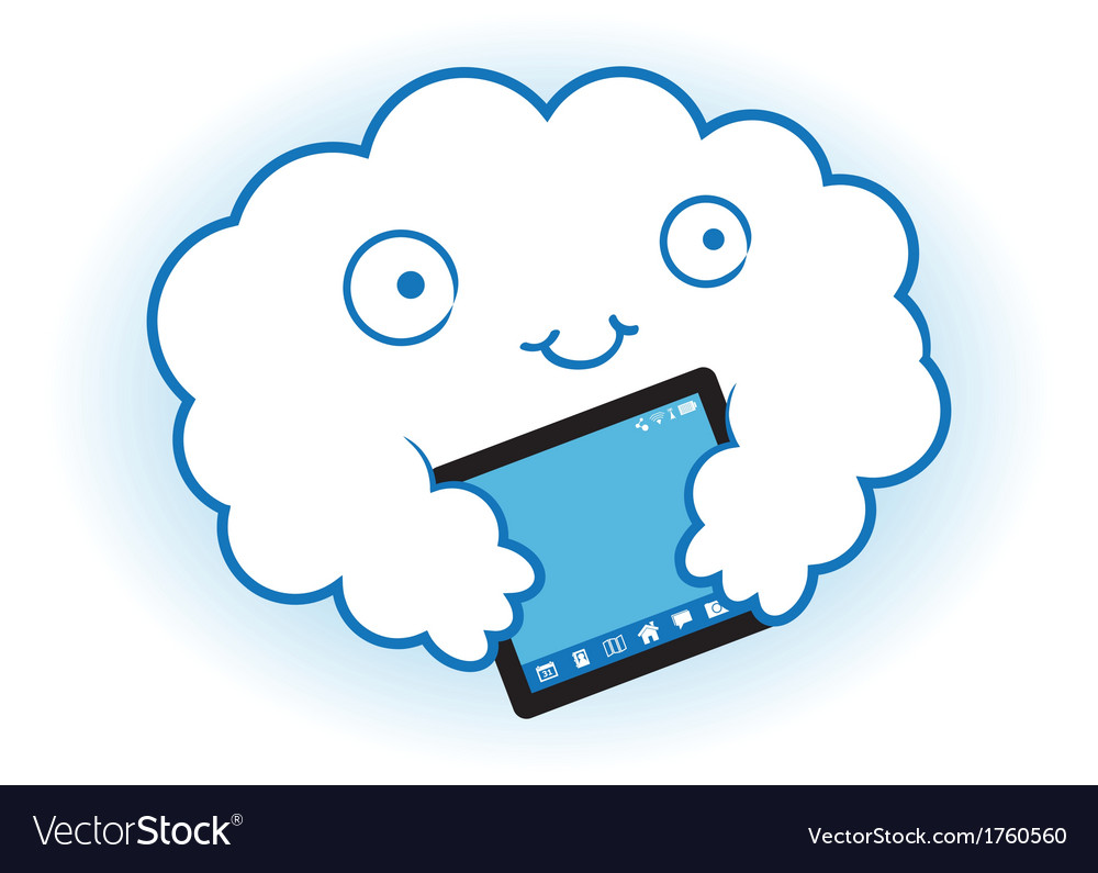 Cloud hugs the tablet vector | Price: 1 Credit (USD $1)