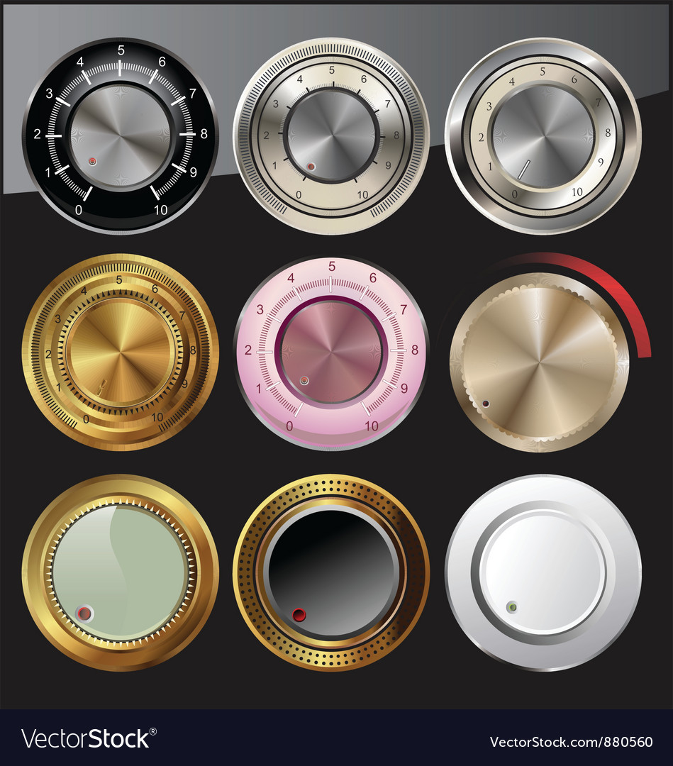 Control or volume knobs in different colors vector | Price: 1 Credit (USD $1)