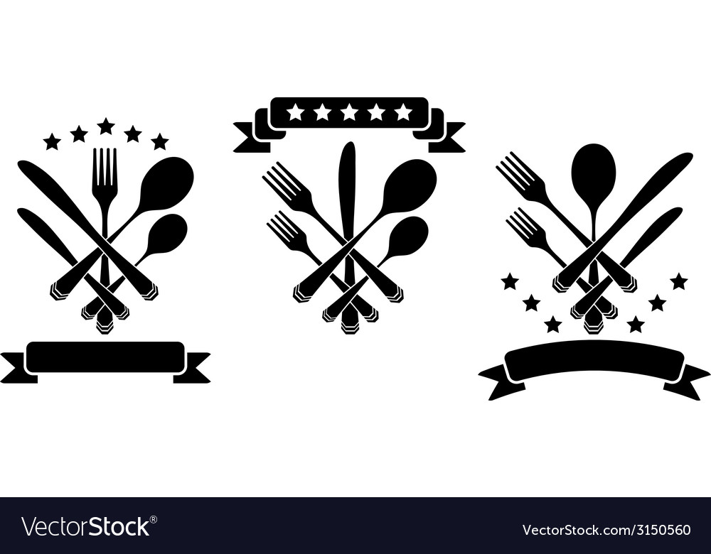 Cutlery with ribbons vector | Price: 1 Credit (USD $1)
