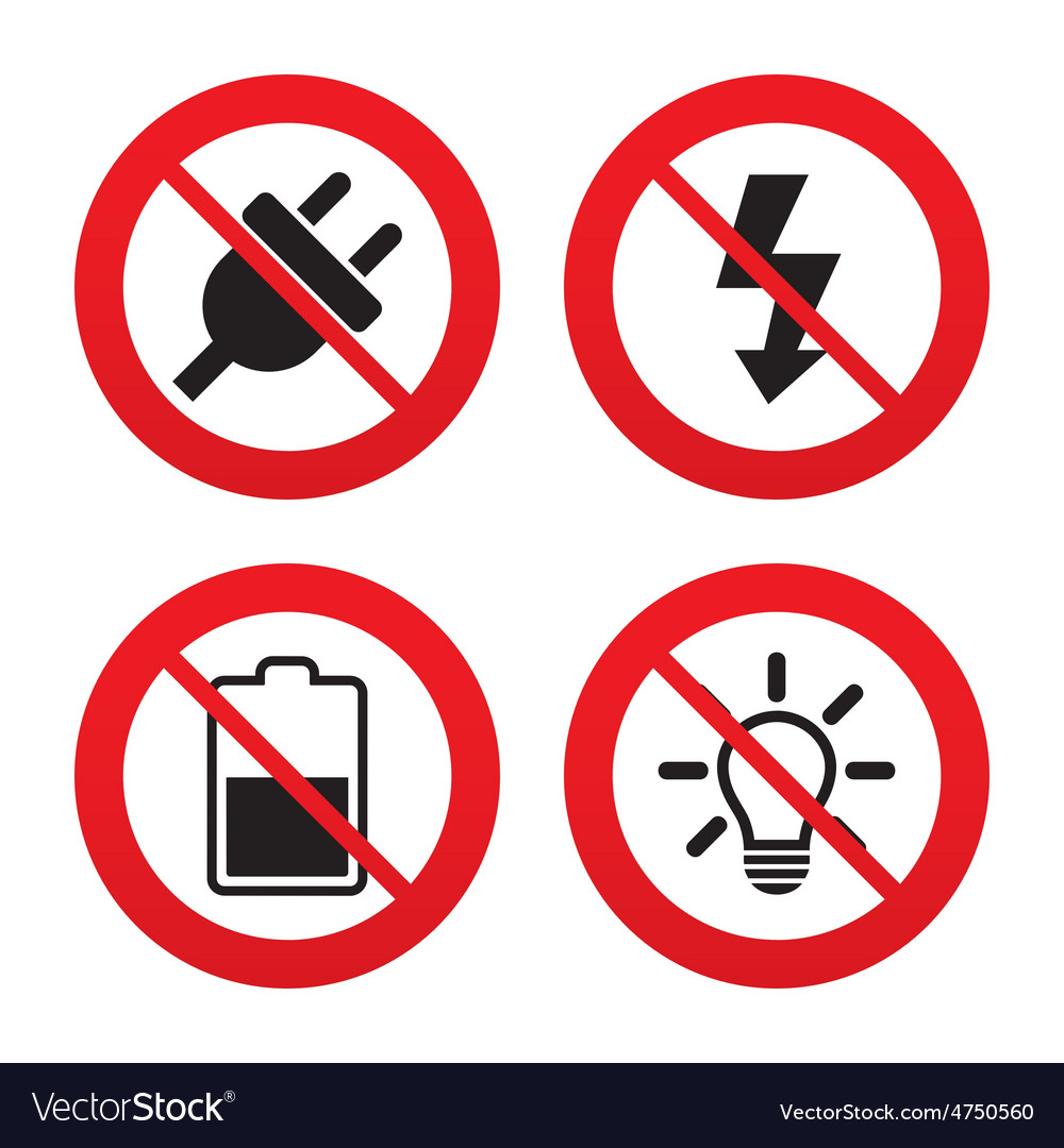 Electric plug sign light lamp and battery half vector | Price: 1 Credit (USD $1)