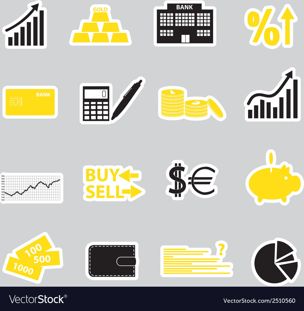 Financial and money stickers eps10 vector | Price: 1 Credit (USD $1)