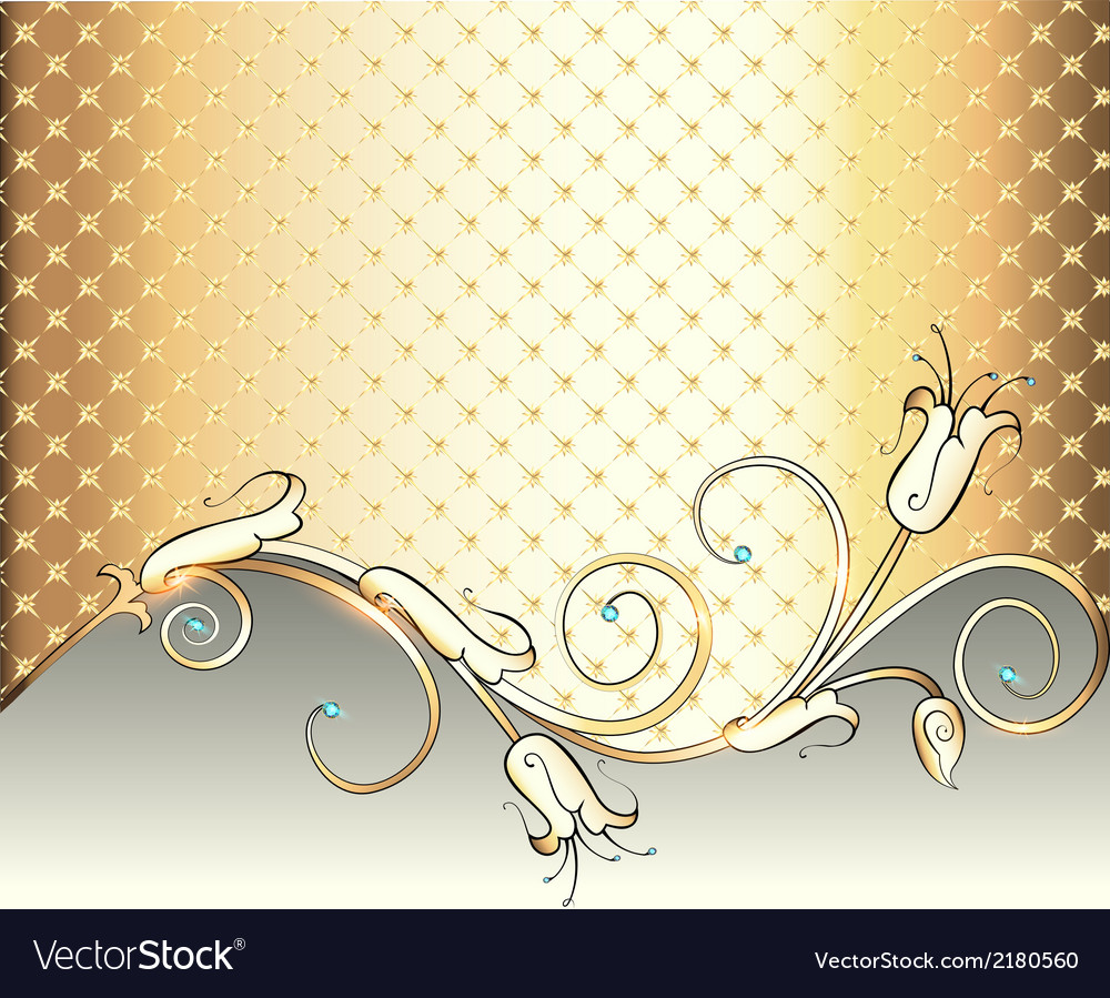 Gold background with flower vector | Price: 1 Credit (USD $1)