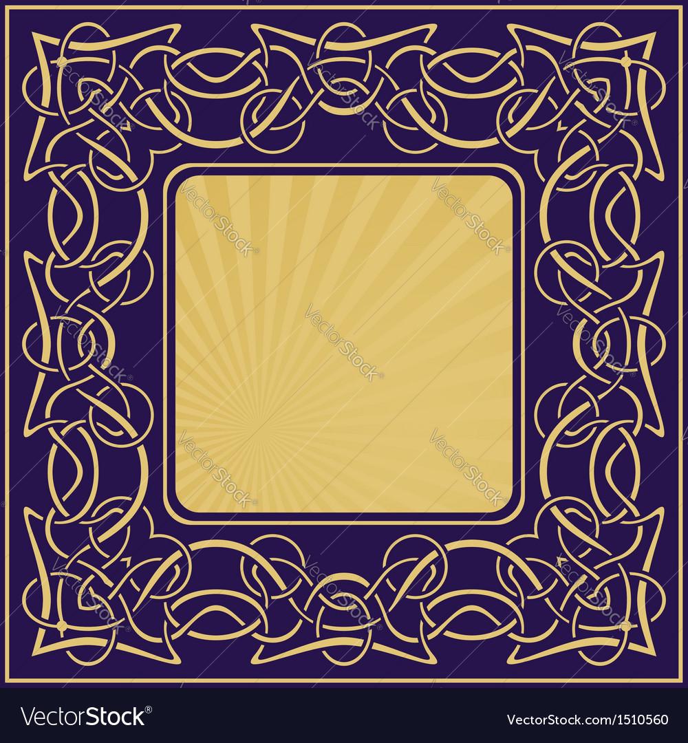 Gold vintage frame with floral ornamental border vector | Price: 1 Credit (USD $1)