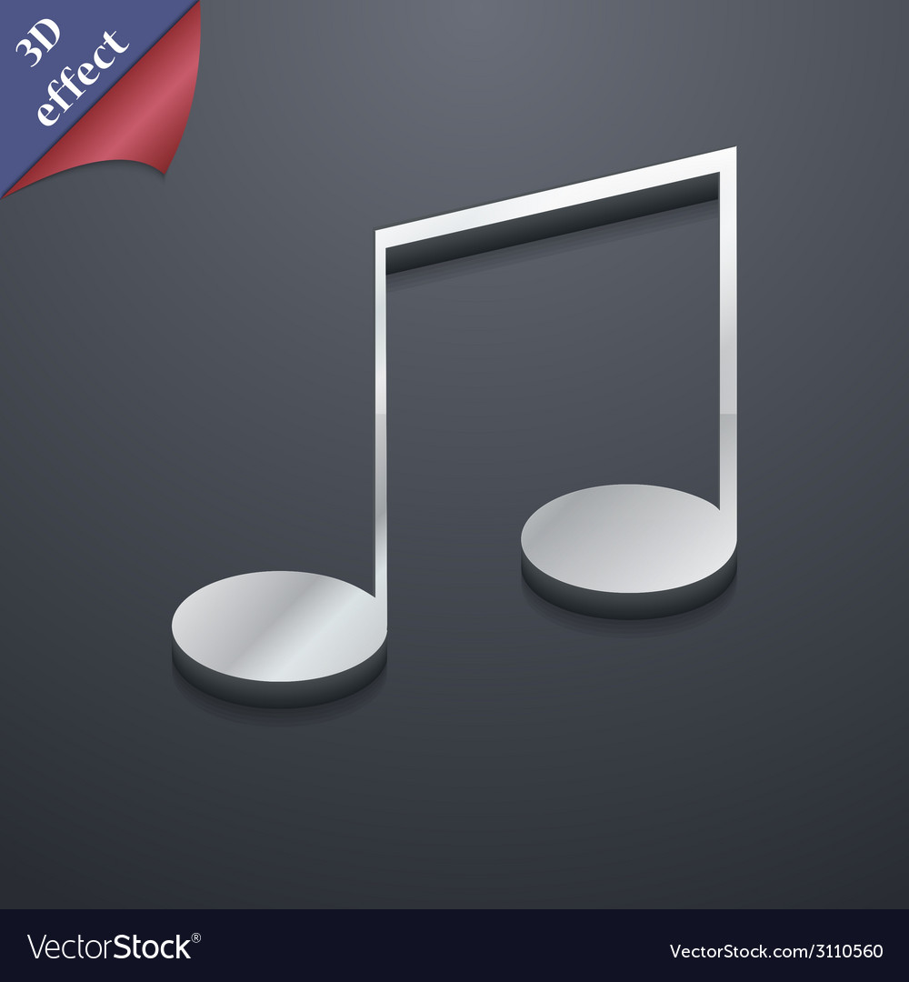 Music note icon symbol 3d style trendy modern vector | Price: 1 Credit (USD $1)