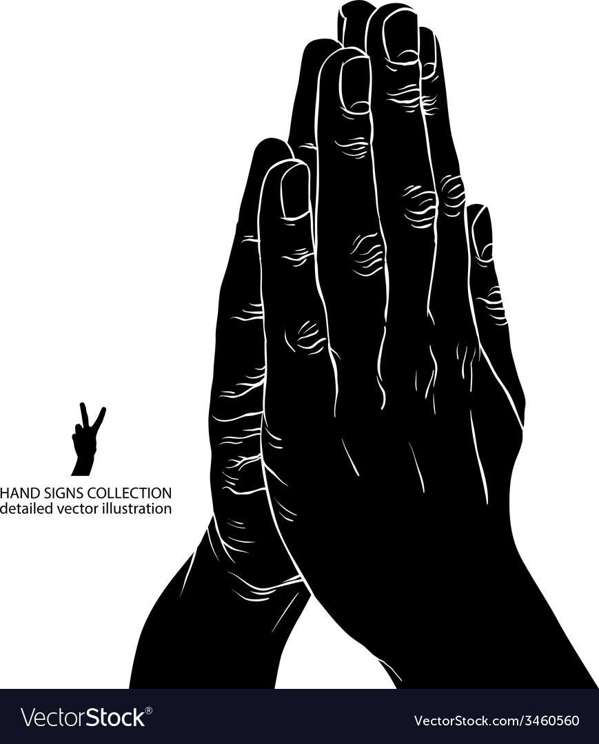 Praying hands detailed black and white vector | Price: 1 Credit (USD $1)