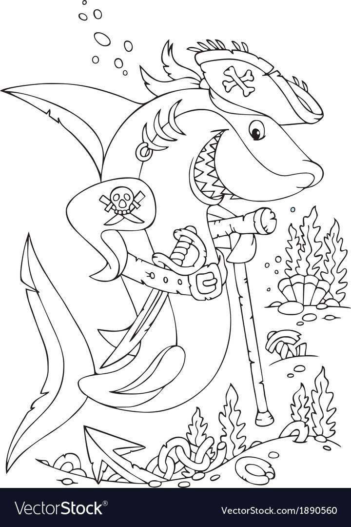 Shark pirate vector | Price: 1 Credit (USD $1)
