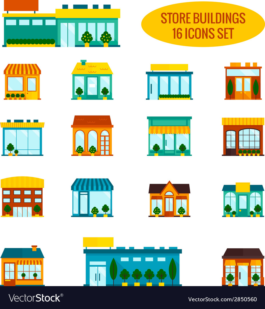 Store building icons set vector | Price: 1 Credit (USD $1)