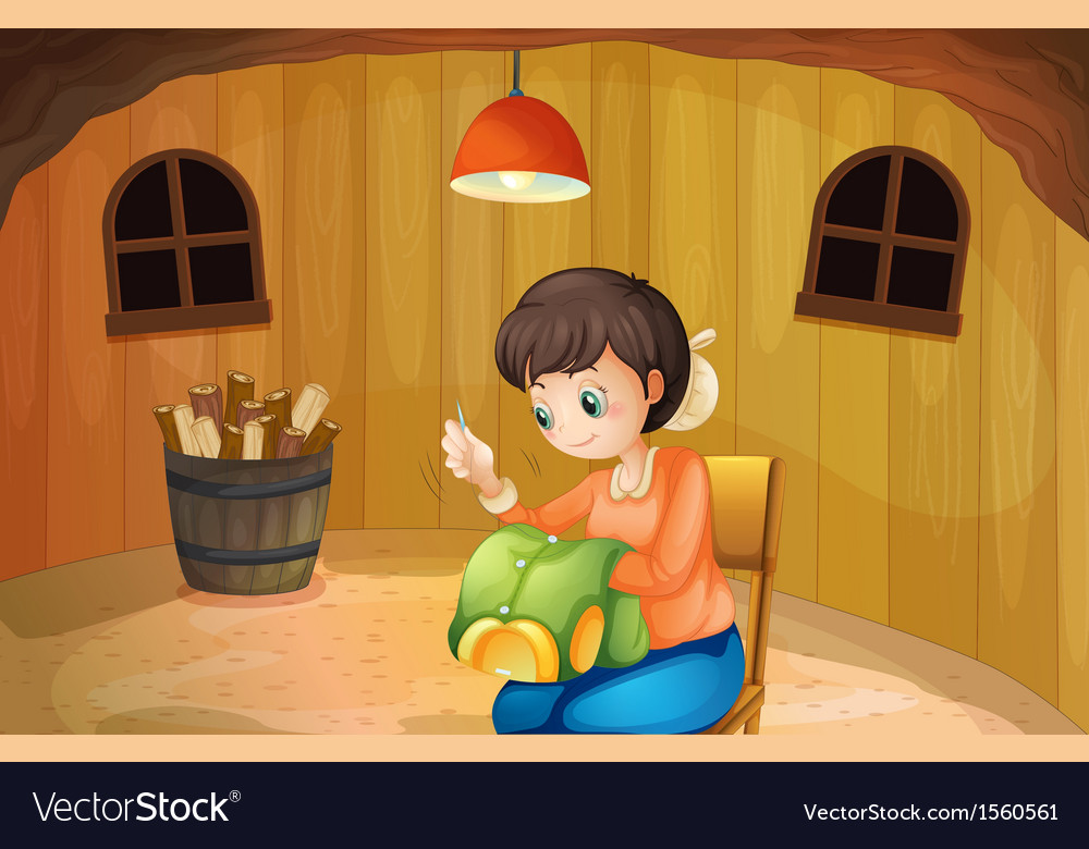 A woman sewing inside a wooden house vector   Price: 1 Credit (USD $1)