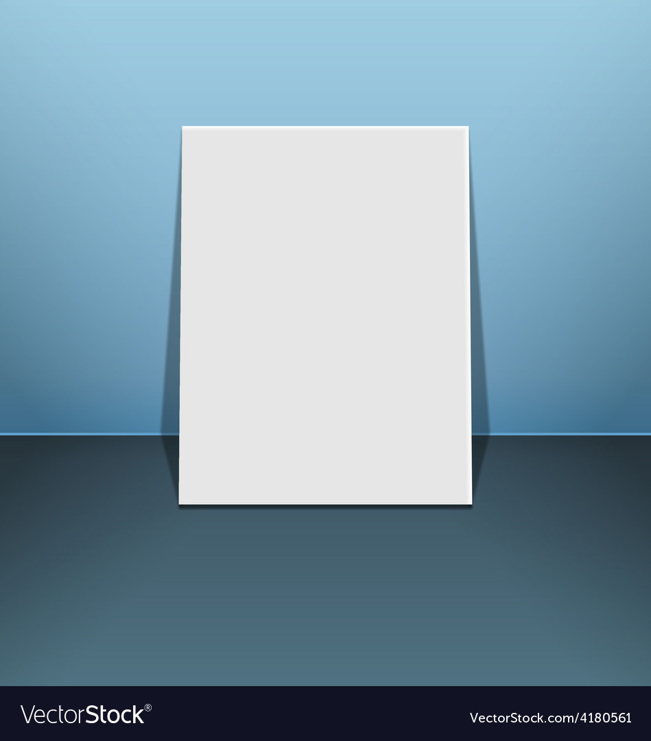 Blank photo frame canvas on blue vector | Price: 1 Credit (USD $1)