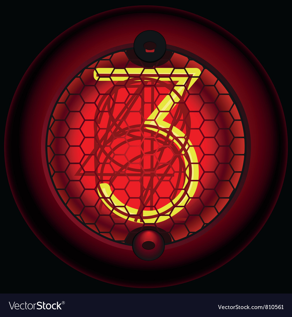 Digit 3 three nixie tube indicator vector | Price: 1 Credit (USD $1)