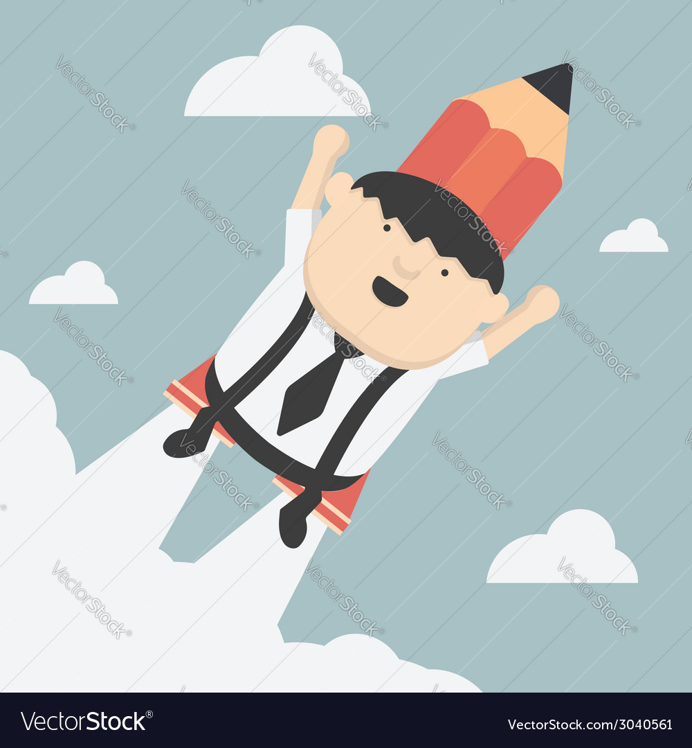 Flying with a rocket pencil vector | Price: 1 Credit (USD $1)