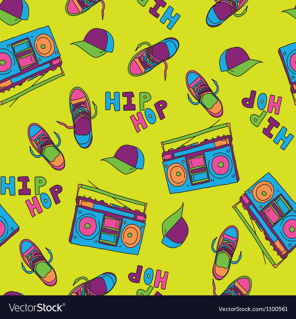 Hip hop music seamless pattern vector | Price: 1 Credit (USD $1)