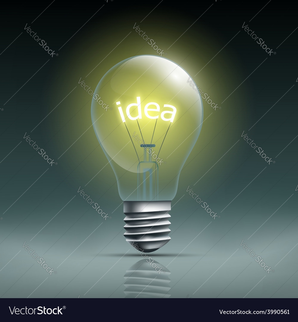 Light bulb with the word idea vector | Price: 1 Credit (USD $1)