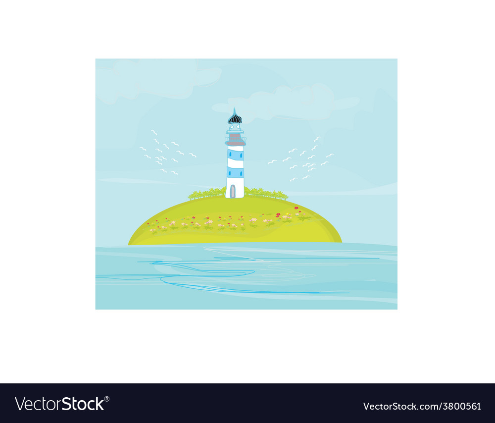 Lighthouse on the island vector | Price: 1 Credit (USD $1)